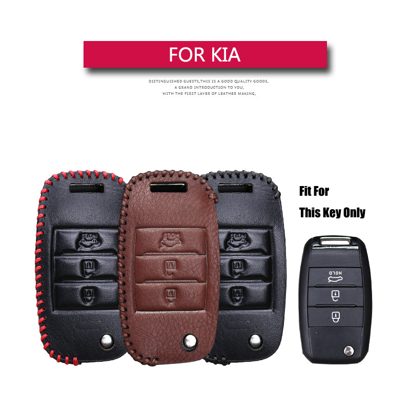 Kukakey Leather Car Key Cover Case Holder Keychain Accessories For Kia Ceed Rio K2 Picanto Soul Sportage K3 2018 3 Button