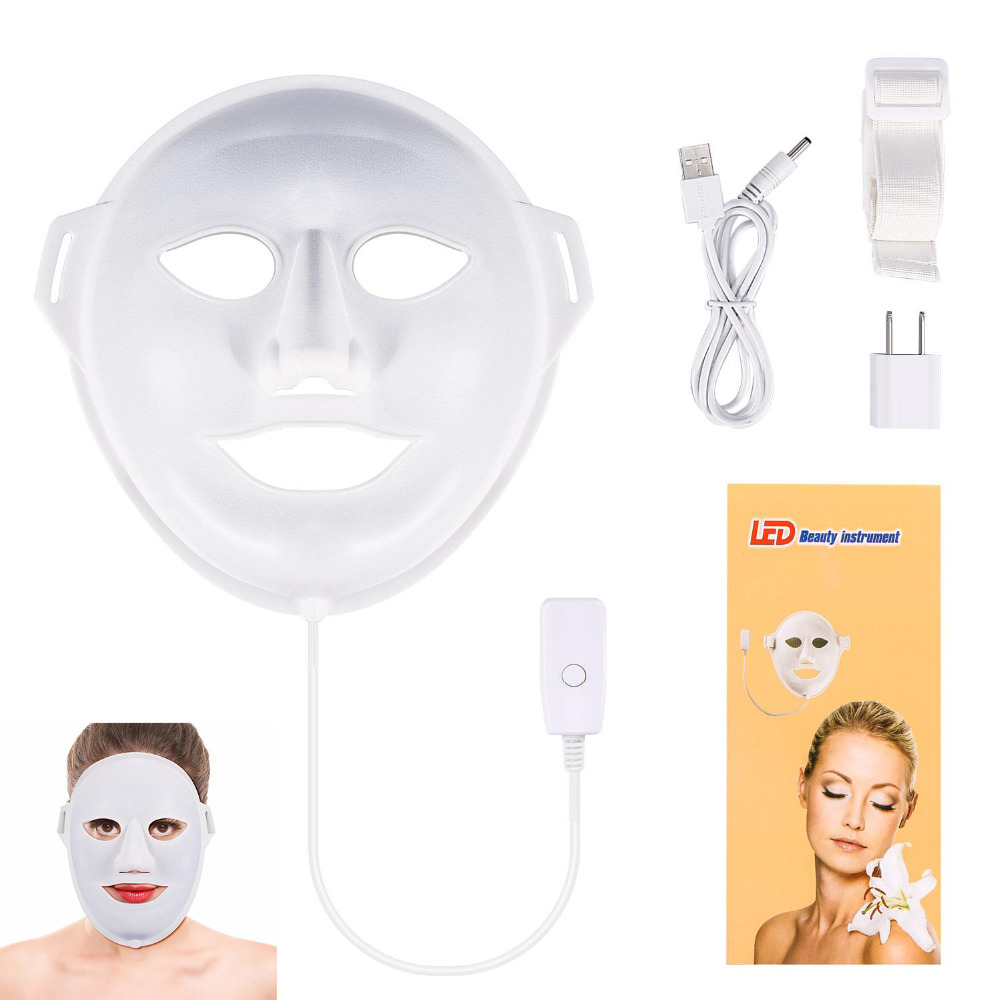 LED Light Photon Skin Care Facial Skin whitening 3Colors Collagen Mask Rejuvenation Anti Wrinkle Mask Stone Needle Massager Care 1 set professional face care diy homemade fruit vegetable crystal collagen powder facial mask maker machine skin whitening
