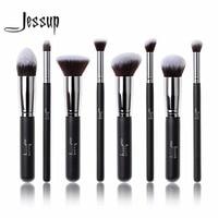 Professional 8pcs Black Silver Foundation Blush Liquid Kabuki Brush Makeup Brushes Tools Set Beauty Cosmetics Kit