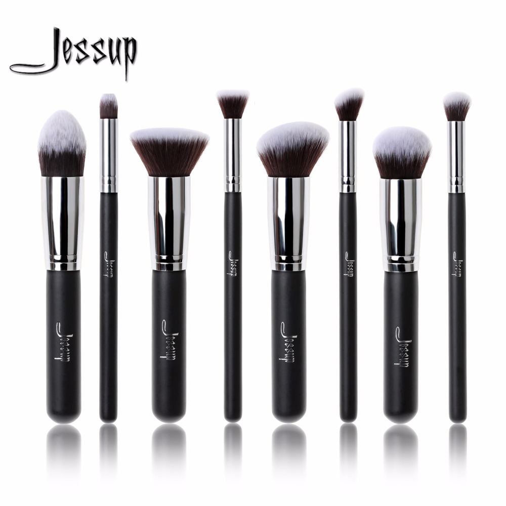 Jessup brushes 8pcs Foundation blush Liquid Kabuki brush Makeup Brushes Tools set Beauty Cosmetics kit T053 2017 jessup brushes 5pcs black silver beauty kabuki makeup brushes set foundation powder blush makeup brush cosmetics tools t063