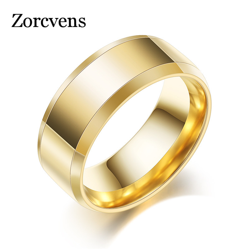 ZORCVENS New Design 8MM Wide Stainless Steel Rings Trendy Black/silver color/Gold Color Wedding Ring Jewelry For Women Men