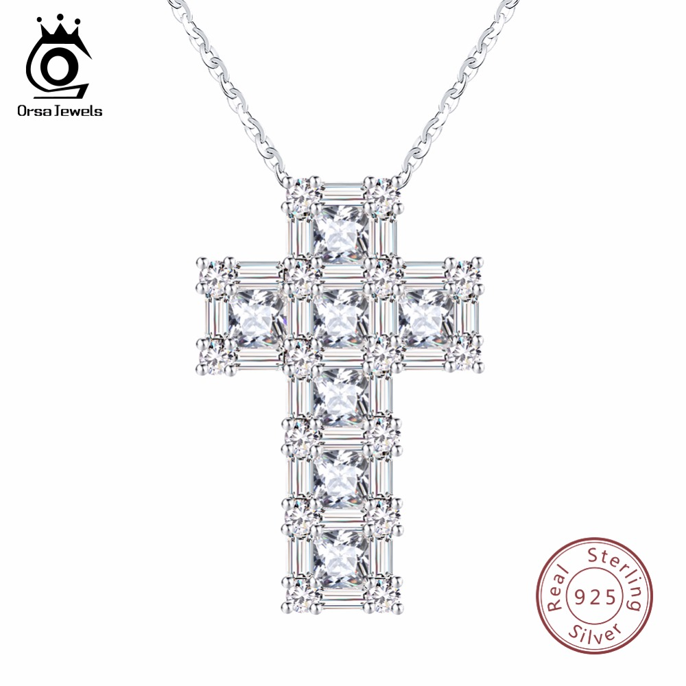 ORSA JEWELS 100% Real Sterling Silver Pendant & Necklace For Women AAA CZ Prong Setting Cross Shape Male Fine 925 Jewelry SN65 ORSA JEWELS 100% Real Sterling Silver Pendant & Necklace For Women AAA CZ Prong Setting Cross Shape Male Fine 925 Jewelry SN65
