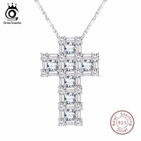 ORSA JEWELS 100 Real Sterling Silver Pendant Necklace For Women AAA CZ Prong Setting Cross Shape