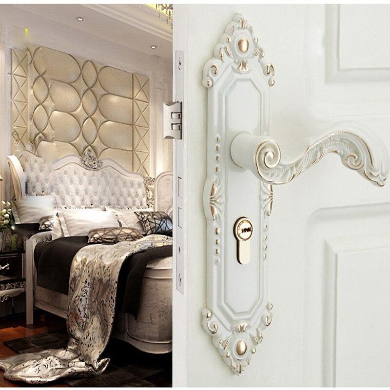 European style indoor solid wood bedroom set handle ivory white door lock European style indoor solid wood bedroom set handle ivory white door lock