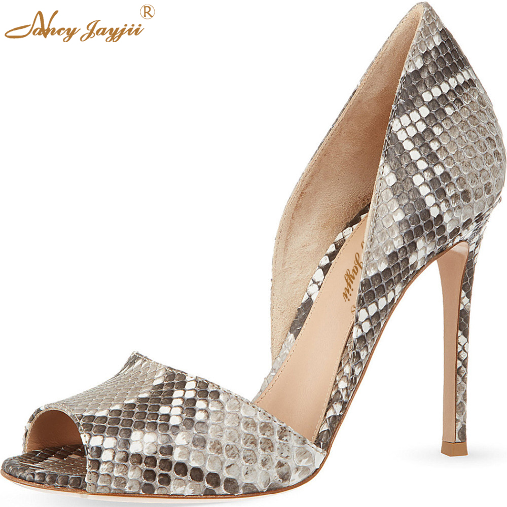 Fashion Snakeskin Grey Pleather Peep Toe 10cm High Heels Pumps Casual Brand Shoes Dress&Party&Office Shoes Women Nancyjayjii 11 onlymaker fashion design pump shoes peep toe 10cm high heels pumps sandals woman dress party office slipper shoes women