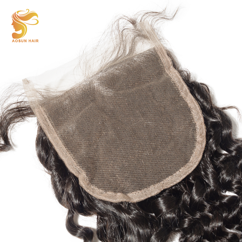 AOSUN HAIR Brazilian Hair Deep Wave Closure 4*4 Natural Black Extension 8-20 inches Remy Lace Closure with Human Baby Hair