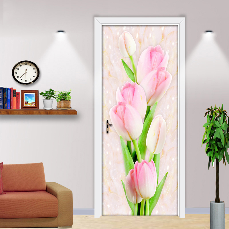 Tulip 3D Stereoscopic Door Sticker Mural PVC Self-adhesive Waterproof Wallpaper Modern Flowers Living Room Decoration Painting