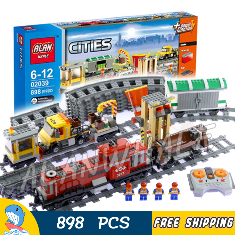 898pcs City Trains Motorized Remote Control Red Cargo Train 02039 Model Building Blocks Children Toys Brick Compatible With Lego