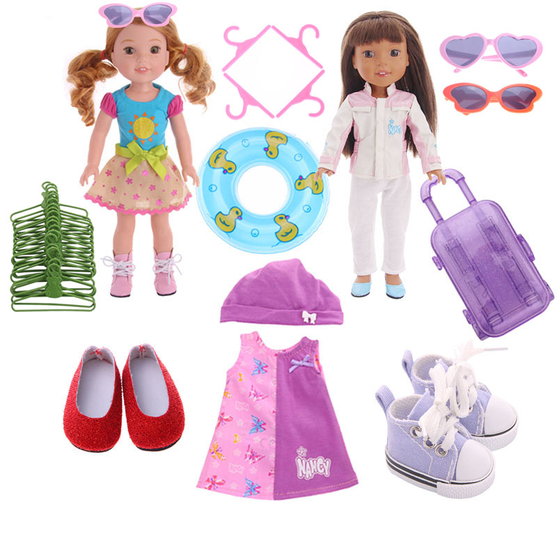 ZWSISU 14 Pcs Doll Clothes Dresses Accessories For 14.5 Inch Wellie Wishers Doll For Generation Girl`s Toy