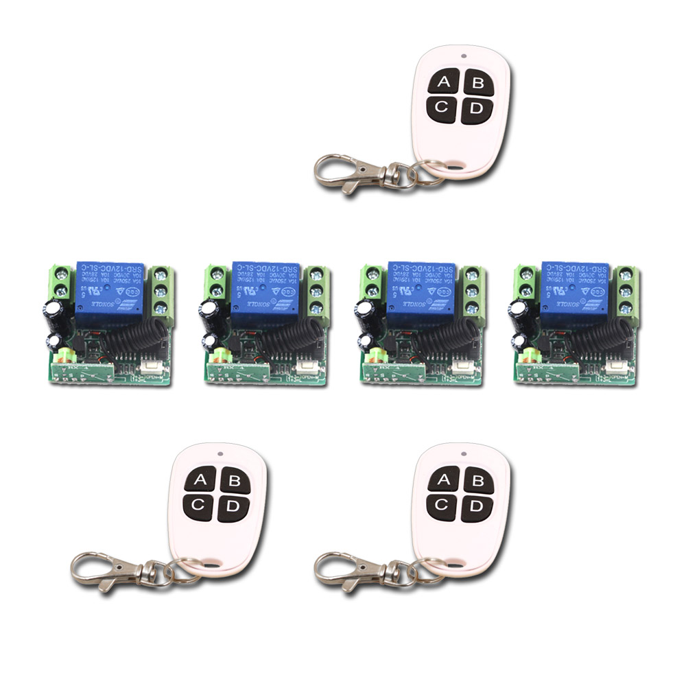 Household Smart Home DC12V Mini 315/433mhz 1CH Wireless RF Remote Control Instantaneous Switch 3Transmitter+4 Receiver dc12v rf wireless switch wireless remote control system1transmitter 6receiver10a 1ch toggle momentary latched learning code