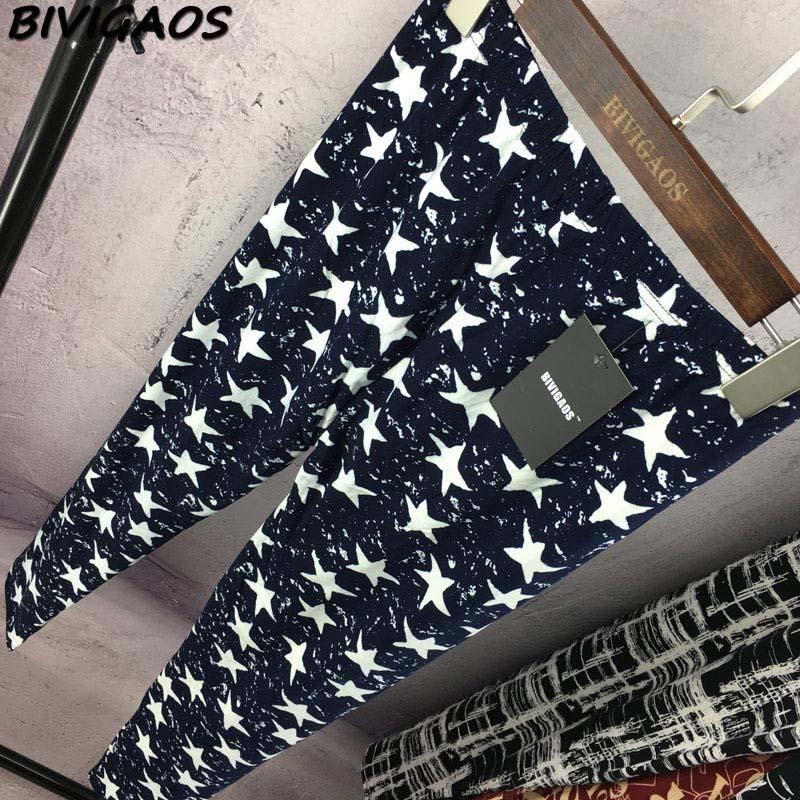 BIVIGAOS Spring Summer Womens Fashion Black Milk Thin Stretch leggings Colored Stars Graffiti Slim Skinny Leggings Pants Female 83