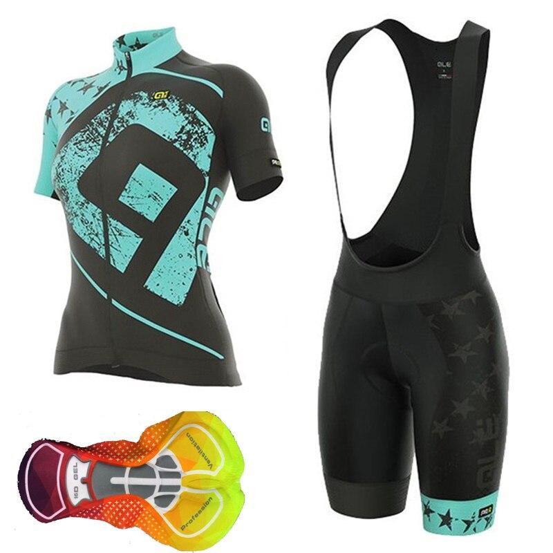 ALE Для женщин Vélo 2018 горный велосипед Костюмы MTB короткий рукав комплект рубашки Bib Шорты костюм велосипед одежда Ropa Ciclismo