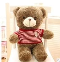 Stuffed animal Teddy bear red stripes cloth bear about 23 inch plush toy 60 cm bear throw pillow doll wb525