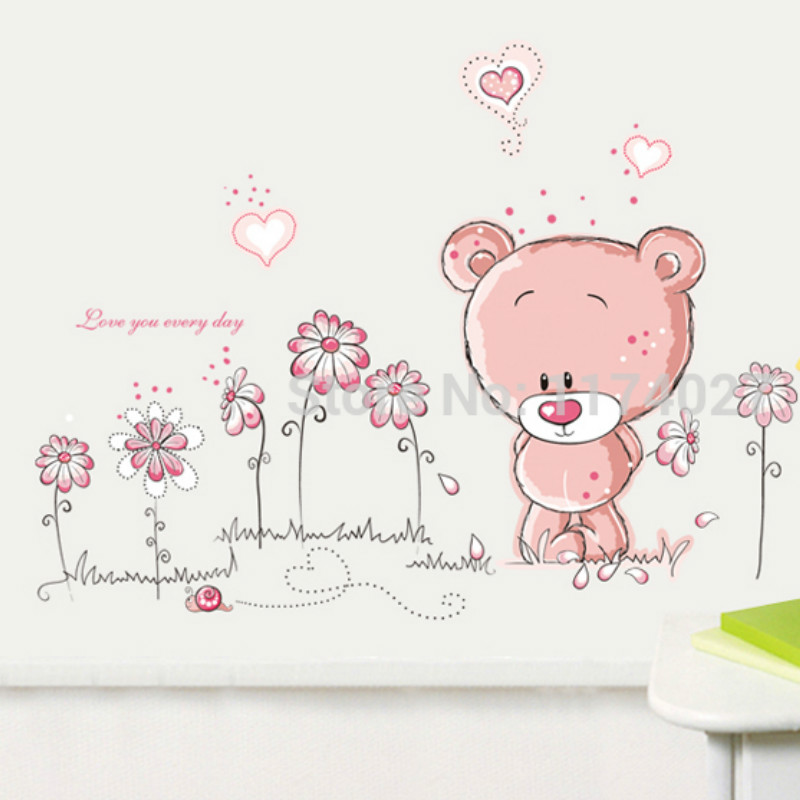 Free shipping Cartoon Lovely Bear Flowers Wall Stickers PVC Removable DIY Home Art Wallpaper Room Decor
