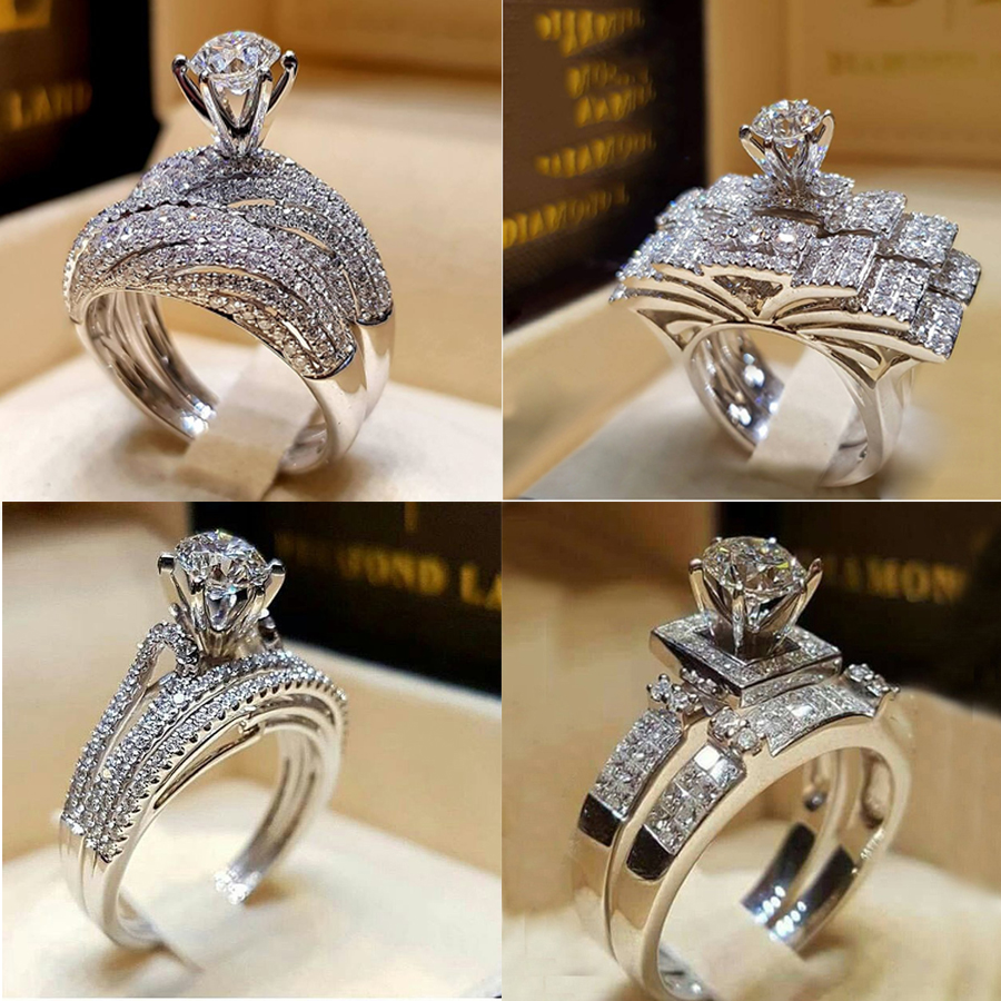 Cubic Zirconia CZ Forever Endless Love Promise Ring Statement Eternity Engagement Wedding Band for Women Haluoo Sterling Silver Infinity Knot Ring