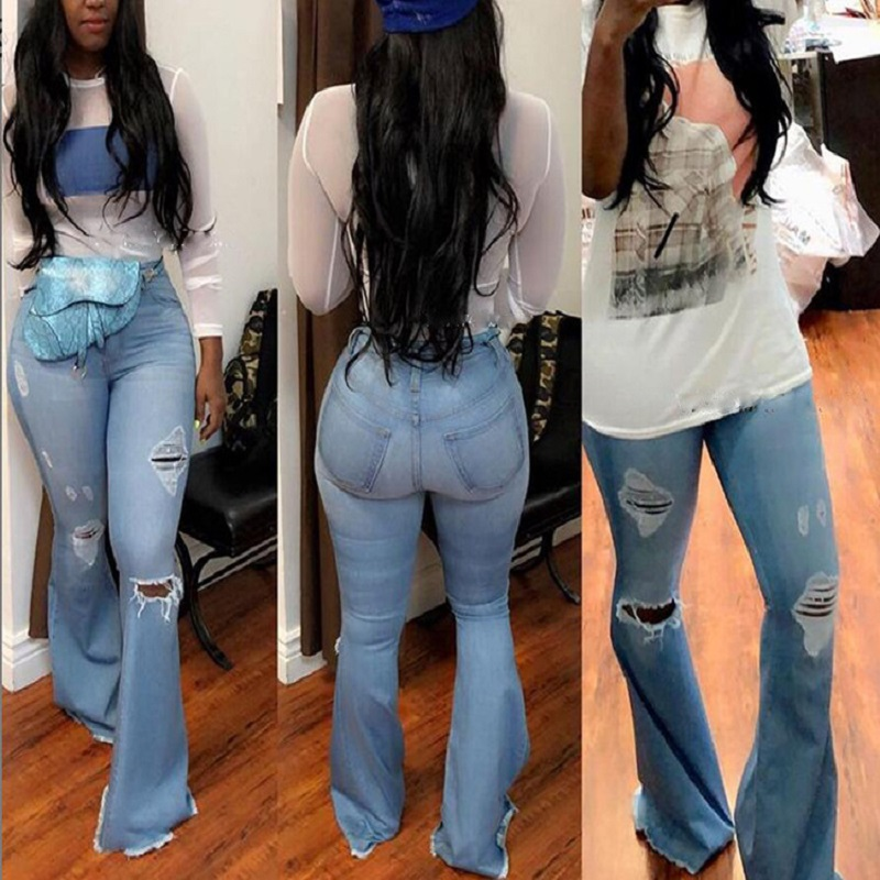 Hot Style Women's Wear Hot Selling High Waist Ripped Wide Leg Flared Jeans Fashion Cool High Elastic Lee Jeans