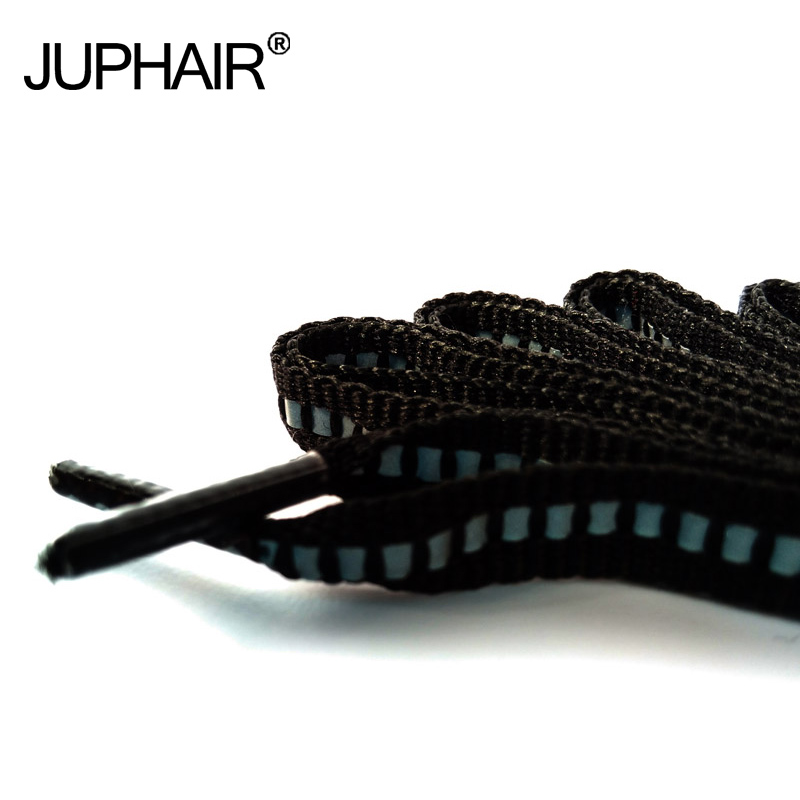 JUP1-12Pair Blcak Polyester Flat Reflective Runner Shoelace Visible Safty Luminou Shoelaces Unisex Sport Basketball Canvas Shoes