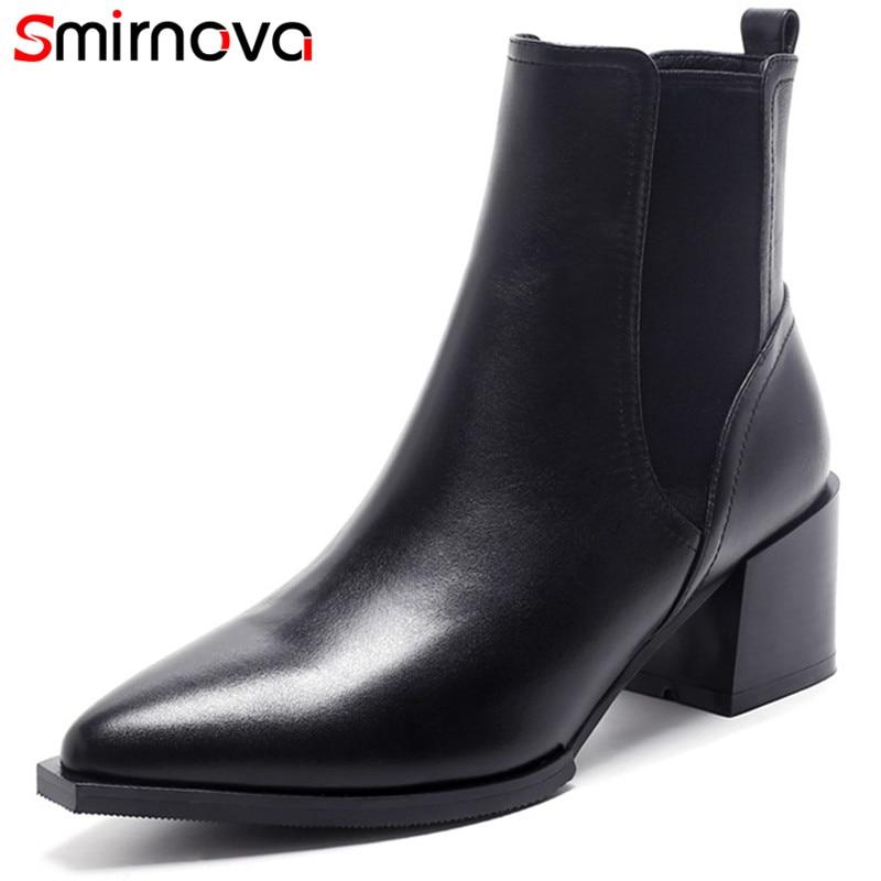 De Bottes Pointu Noir Sur Le Robe Bout Dames Femmes Smirnova Carrés Glissement Talons Classique Arrivée Vache 2018 Cuir Bottines Chaussures Nouvelle 4ngq8Oxwv
