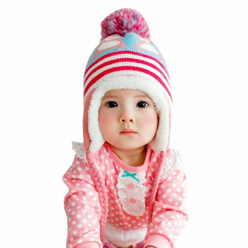 Di inverno Lavorato A Maglia Cappello Caldo Del Cappello Del Bambino Del Bambino Del Bambino Delle Ragazze Dei Ragazzi Turbna Del Fumetto Infantile di Inverno del Knit Beanie Cappello Del Crochet Protezione della Sfera