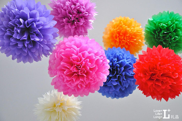 Diy Colored Paper Flowers Pom Poms14 Inch Flower Ball Wedding Party