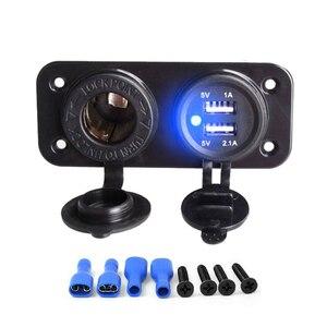 Image 5 - 12 24V double USB chargeur de voiture adaptateur de prise dalimentation 2.1A panneau pour bateau de voiture