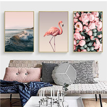 Flamingo Flower Sea Nordic Canvas Painting Decoración Arte de la pared Paisaje marino Animal Camellia Belleza Salón Pictur Telón de fondo DIY