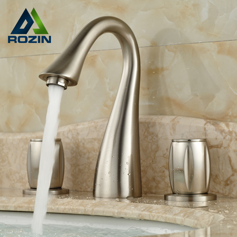 2016 Unique Design Good Quality Basin Sink Countertop Faucet Hot & Cold Water Taps Brushed