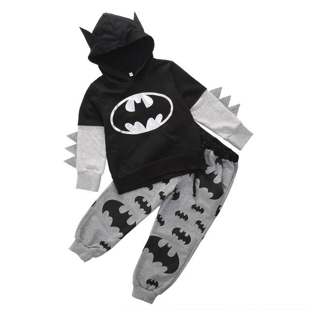 Fashion Children Clothing 2016 Outfits Baby Boy Cartoon Batman Tops Hooded Sweatshirt Hoodies+Pants Clothes