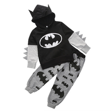 Fashion Children Clothing 2016 Outfits Baby Boy Cartoon Batman Tops Hooded Sweatshirt Hoodies+Pants Clothes