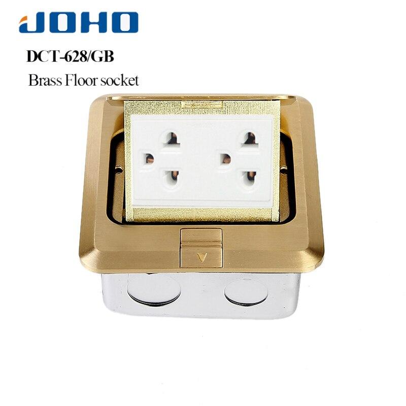 JOHO panneau en laiton 3 trous rapide Pop Up boîte de sortie de prise de sol avec résidentiel/usage général 15A US prise et RJ11 données