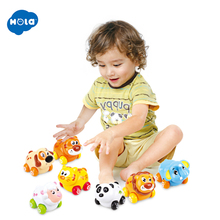 (Set of 3) Free Shipping Huile Toys Cheap Baby Cartoon Animals Friction Push and Go Toy Cars Play Set for 18 Month+