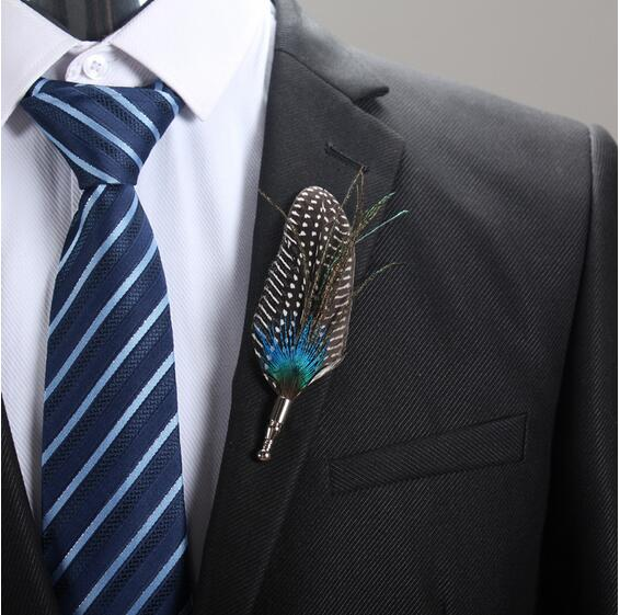 5pcs Lot Feather Corsage Groom Groomsman Wedding Party