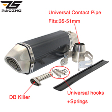 ZS Racing Universal Motorcycle Exhaust Akrapovic Escape Moto Muffler Pipe With Removable DB Killer GY6 CBR125 CB400 CB600 YZF