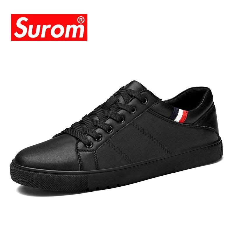 SUROM Marque De Mode Sneakers En Cuir Casual Chaussures Hommes Respirant Classique Noir Blanc Mâle Chaussures Krasovki Printemps Eté Sneakers