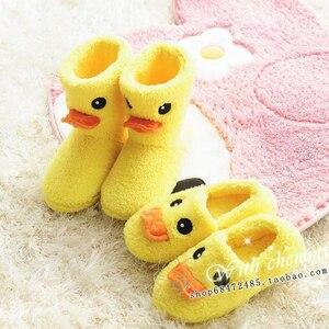 Sapatos Pato Amarelo Slides Feminino Indoor Chinelos Casa Mulheres Sapatos Casuais Senhoras Sapatos de Inverno de Pelúcia Sapatos de Inverno Quente 2018