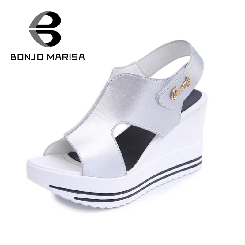 ФОТО Women High Heel Wedge Summer Shoes 2017 Fashion Open Toe Platfrom Sandals White Black Silver Size 35-39