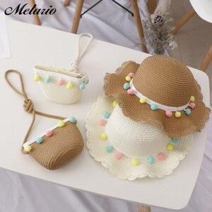 Melario/Милая шляпа для девочек, летняя кепка 2020, дышащие соломенные шляпы, цветная шляпа принцессы с помпонами, Детская шляпа с сумкой, От 2 до 6 ...