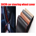 1 pcs diy car steering wheel Cover hand-stitched 38cm leather steering-wheel cover funda volante housse volant voiture