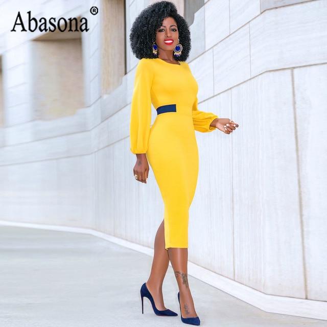 Abasona Yellow Pencil Dress Women O Neck Long Sleeve Split Woman Slim Midi Dress Ladies Fashion Patchwork Elegant Party Dresses 4