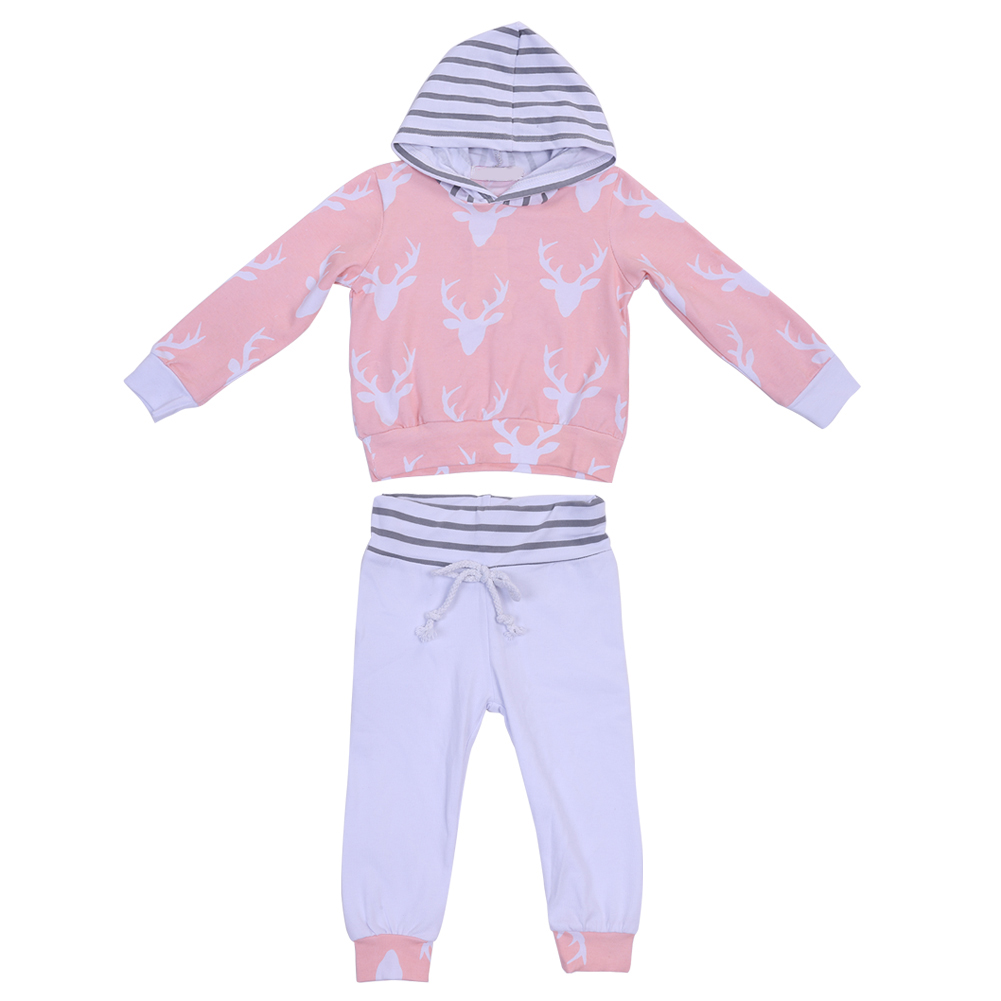2pcs Christmas Unisex Kids Clothes Baby Girls Boys Reindeer Print Hooded Tops + Pants Outfits Newborn Casual Clothing