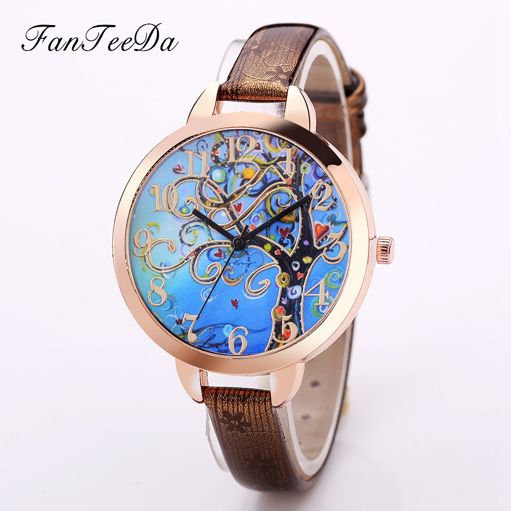 цена FanTeeDa Luxury Brand Cute Bracelet Ladies Watch Women Watches Leather Fashion Female Vintage Tree Pattern Quartz Watch