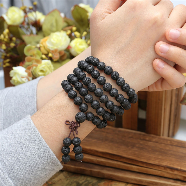 Jovivi Hot Bead Bracelets 6mm 8mm Natural Lava Rock Stone Healing 108 Buddhist Prayer Beads