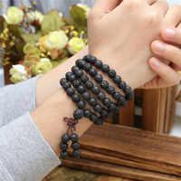 Jovivi hot pulseiras de contas de 6mm 8mm natural lava pedra rocha cura pedra 108 contas de oração mala tibetano budista pulseira colar