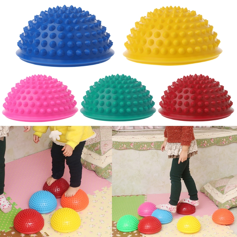 Inflatable Yoga Half Ball Massage Point Stepping Stones Exercise Stabilizer Gym Pilates Fitness Balancing W15