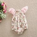 Bebê recém-nascido Meninas Playsuit, Floral Bolha Romper Do Bebê, Lace Flutter Sleeve Menina Romper Do Bebê Sunsuit, Floral Criança Sunsuit