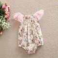 Newborn Baby Girls Playsuit ,Floral Baby Bubble Romper ,Lace Flutter Sleeve Baby Girl Romper Sunsuit ,Floral Toddler Sunsuit