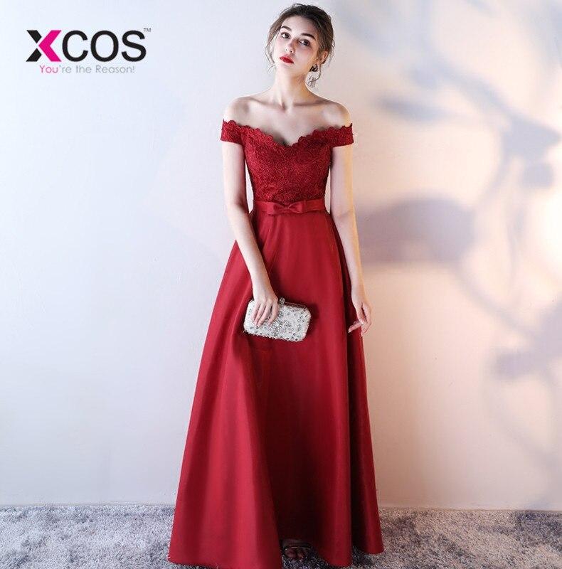 794c3f3b12e90ce XCOS цвет красного вина с открытыми плечами платье для выпускного с  аппликациями простой длинное, кружевное до пола вечерние платье индивиду.