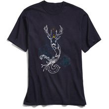 100% Cotton Fabric Man T Shirt Mens T-shirts Holy Stag Print Tshirt Latest Geometric Deer Short Sleeve Tops Shirts Summer/Autumn