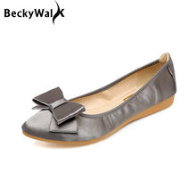Sweet Bowknot Silk Ladies Shoes Women Foldable Ballet Flats Pointed Toe  Spring Shoes Woman New Loafers b4f844acab96