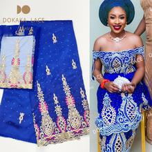 Royal Blue African Sequined Embroidered George Lace Fabric With 2 Yards Net Blouse For Indian Wedding Lace Bride Sequins George